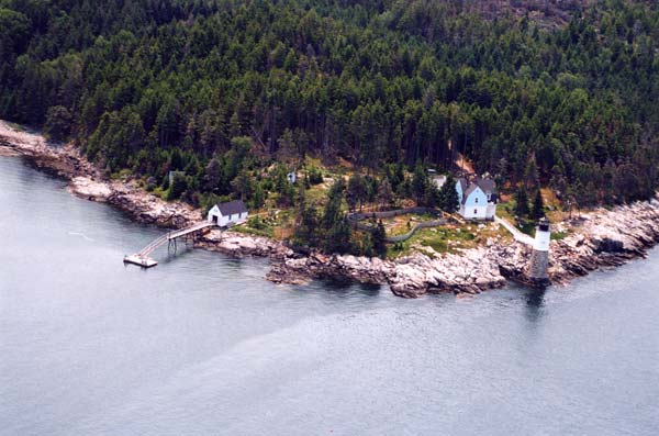 The Keeper's House Inn | Isle au Haut, Maine: aerial view of lighthouse and buildings