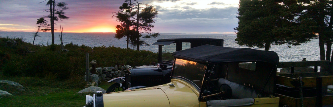The Keeper's House Inn | Isle au Haut, Maine: Sunset with vintage cars